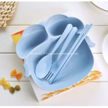 Vaisselle enfant en fibre de bambou en forme de cochon, 4 pièces