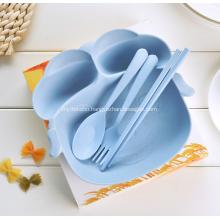 4-Pieces Piggy Shape Bamboo Fiber Child Tableware