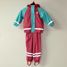 Красный и голубой сплошной пу Светоотражающий дождя куртку для детей/ребенка