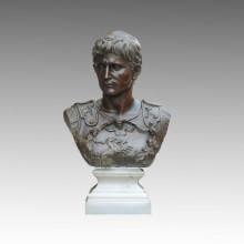 Busts Bronze Garden Sculpture Roman King Octavian Deco Brass Statue TPE-450