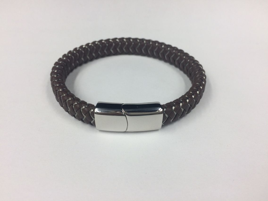 Mens Weave Leather Wire Rope Magnetic Clasp Bracelet