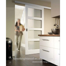 White Painted Wall Mounted Sliding Glass Door With Frosted Glass