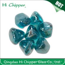 Color Azul Forma De Diamante Fuego Pit Vidrio Piedra Gema