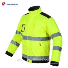 Vente chaude Polycotton Haute Visibilité Engineer Workwear Coupe-vent Jaune Réfléchissant Veste