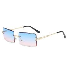 Summer Fashion Rimless Cut Sunglasses Square Multi Color Gradient Sunglasses