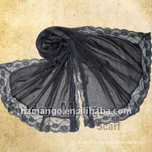 Bufanda de voile de algodón puro liso de estilo elegante