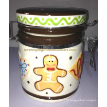 Ceramic Hand Paint Old Tyme Keeper Canister
