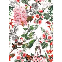 Tela de la ropa de poliester de Living Flower / Bird Woven impreso