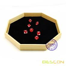 12 Inch Octagon Wooden Dice Tray with Felt Lined Rolling Surface