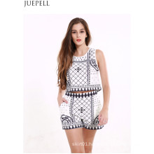 Summer New Sleeveless Vest Coat Female Retro Print Shorts Suit Fashion Two Sets Suit