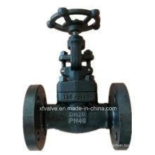 Válvula de globo de extremo de conexión de brida de acero forjado A105 DIN Pn40