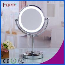 Fyeer Ultra Thin Double Side espelho de mesa de cosméticos com luz LED