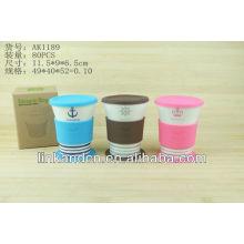 KC-00977 cute design, ceramic coffee mug with silicone lid