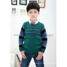 Suéter a rayas con cuello redondo y cuello redondo Karen para niño