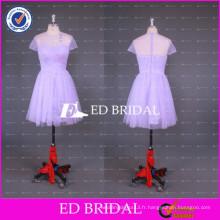2017 ED Bridal Sheer CrewNeck Longueur au genou manches courtes Robe de demoiselle d'honneur Tulle chinoise importée de Chine