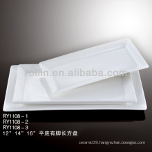 beautiful white flat rectangular porcelain dish