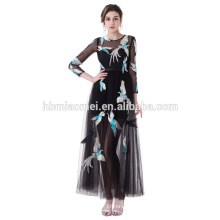 High Quality Plus Size Embroidered Casual Dress Black Color Mid-Calf Evening Dress For Fat Women