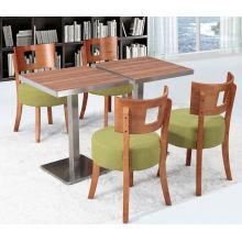 Italian Big Sofa Mocha Green Color Cushion Cafe Chair and Wood Grain Table (FOH-BCA08)