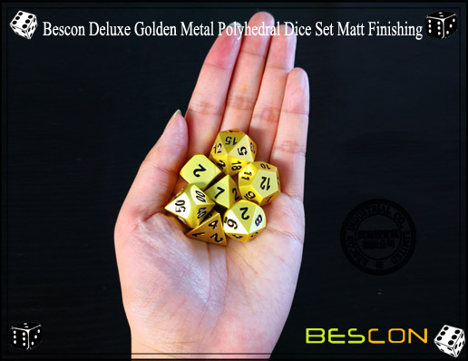 Bescon Deluxe Golden Metal Polyhedral Dice Set Matt Finishing-8