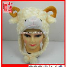 Nouveaux produits nouveauté en peluche animal tête chapeau mignon en peluche mouton agneau animal en forme de chapeau