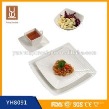 Ensemble de vaisselle en porcelaine en forme de carré de qualité hign