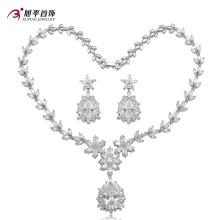 Conjunto de joyas de lujo con diamantes de rodio CZ para mujer Set -20