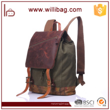 High Quality Genuine Leather Canvas Backpack Bags For Men Rucksack