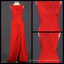 La nueva llegada 2017 por encargo vestido de noche rojo de la envoltura bordó el vestido largo partido