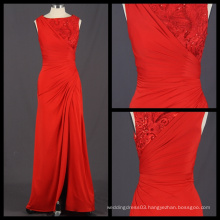 New Arrival 2017 Custom Made Red Sheath Evening Dress Embroidered Split Long Dress