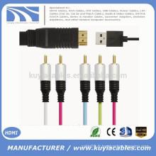 HDMI Mâle TO 5RCA RGB Avec chips chipset Audio Vedio Cable Directement usb 1M 1.5M 1.8M