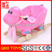 pink and blue popular gift plush cute dinosaur rocking chair for baby