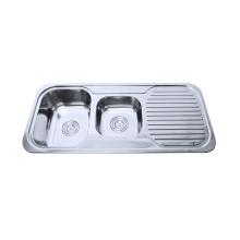 нержавеющая сталь двойной чаша кухня раковина с drainboard
