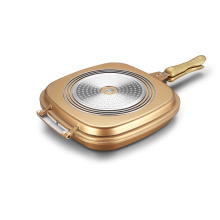 Golden Aluminium Die-casting Square Double Grill Pan