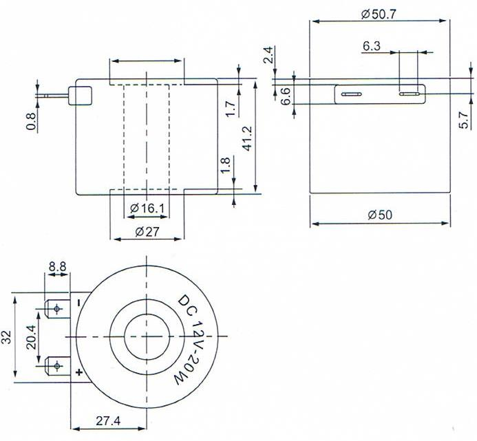 Dimension of BB16141208 Solenoid Coil: