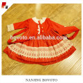 Chinese red snowflake embroidery long sleeve dress