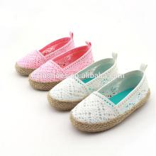 Мода девочек обувь джута единственным espadrille детей повседневная обувь