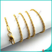 Gold Twist Chain Necklace for Locket Pendant Necklace (FN16041804)
