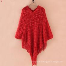 O cardigan da camisola das mulheres envolve o poncho feito malha inverno dos xailes (SP620)