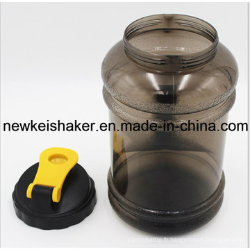 Couvercle à bouche large 2.2L PETG Gym Water Bottle / Plastique BPA Free Water Jug à la poignée