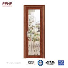 Design de porte de cuisine en aluminium dépoli décoré de verre dépoli