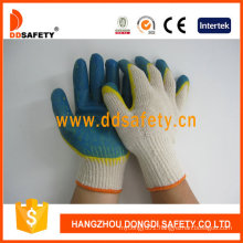 Beige T/C Knitted Shell Mixed Latex Working Glove Dkl317