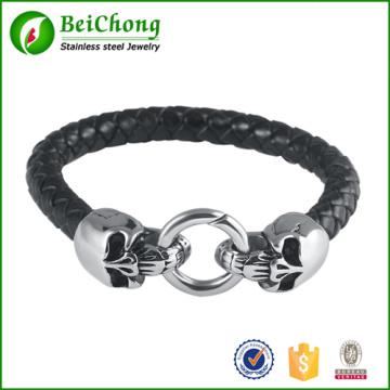 Оптовые продажи Плетеный кожаный панк череп головы браслет браслет браслет для человек мужчин подарок