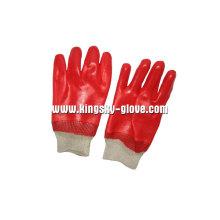 Interlock Liner stricken Handgelenk rot PVC Arbeitshandschuh (5118)
