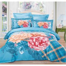 Projeto grande da flor 4 partes de conjuntos de cama com capas de edredão Capas equipadas e capas de travesseiro