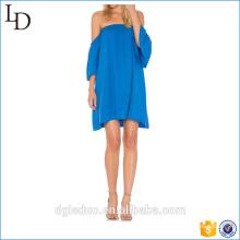 Blau gestreifte Kurzarm Damen Damen aus dem Schulter Rüschenkleid