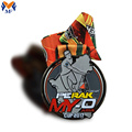Sport Race Cup Gun Metall grau Emaille Medaille
