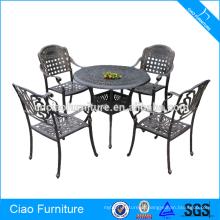 Mobília ao ar livre luxo alumínio fundido jantar conjunto