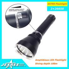 Jexree Gold Lieferant aus China SST-90 2500lumen Taschenlampe 2 * 26650 Fackel für Tauchen Camping