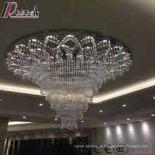 Projeto de cristal de vidro moderno da lâmpada de pendente do tamanho grande com hotel