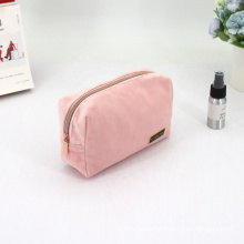 Fashion Style Luxury Suede Velvet Beauty Makeup Bag With Zipper Faux Fur Cosmetic Bag
